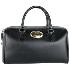 Roberto Cavalli Womens Firenze Black Leather Duffle Satchel Bag