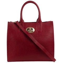 Roberto Cavalli Structured Burgundy Red Grainy Calf Leather Tote Bag