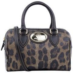 Roberto Cavalli Women's Black Leopard Duffle Satchel Shoulder Bag