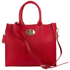 Roberto Cavalli Women's Structured Red Grainy Calf Leather Tote Bag