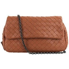 Bottega Veneta Camel Brown Intrecciato Small Chain Crossbody Bag