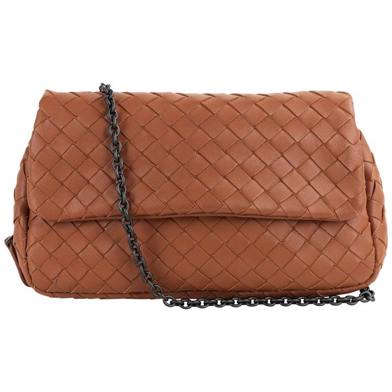 Bottega Veneta Camel Brown Intrecciato Small Chain Crossbody Bag For Sale  at 1stdibs 53f20a544a9c8