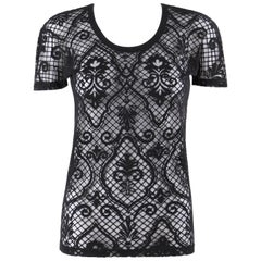VERSACE S/S 2005 Black Baroque Mesh Knit Scoop Neck Tee Shirt
