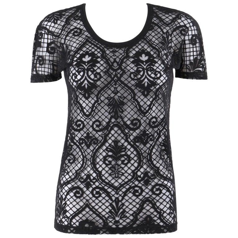 VERSACE S/S 2005 Black Baroque Mesh Knit Scoop Neck Tee Shirt For Sale