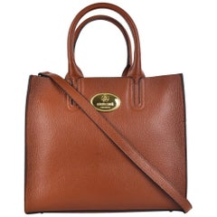 Roberto Cavalli Structured Brown Tan Grainy Calf Leather Tote Bag