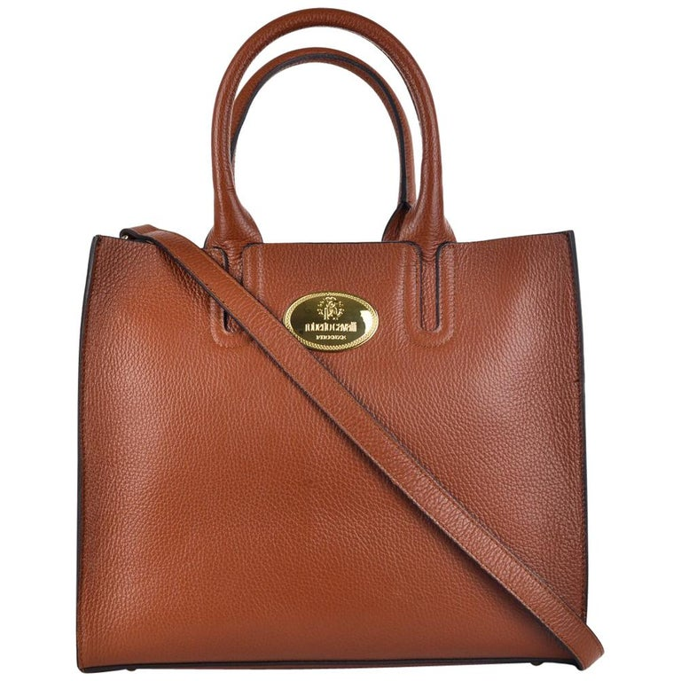 286104613c Roberto Cavalli Structured Brown Tan Grainy Calf Leather Tote Bag For Sale  at 1stdibs
