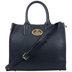 Roberto Cavalli Structured Black Grainy Cheetah Calf Leather Tote Bag