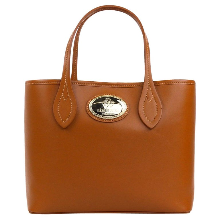 Roberto Cavalli Firenze Cognac Brown Small Leather Shopping Tote Bag For Sale