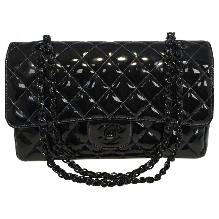 eb7a07b93c35 Chanel Black on Black Patent Leather 10 inch 2.55 Double Flap Classic For  Sale
