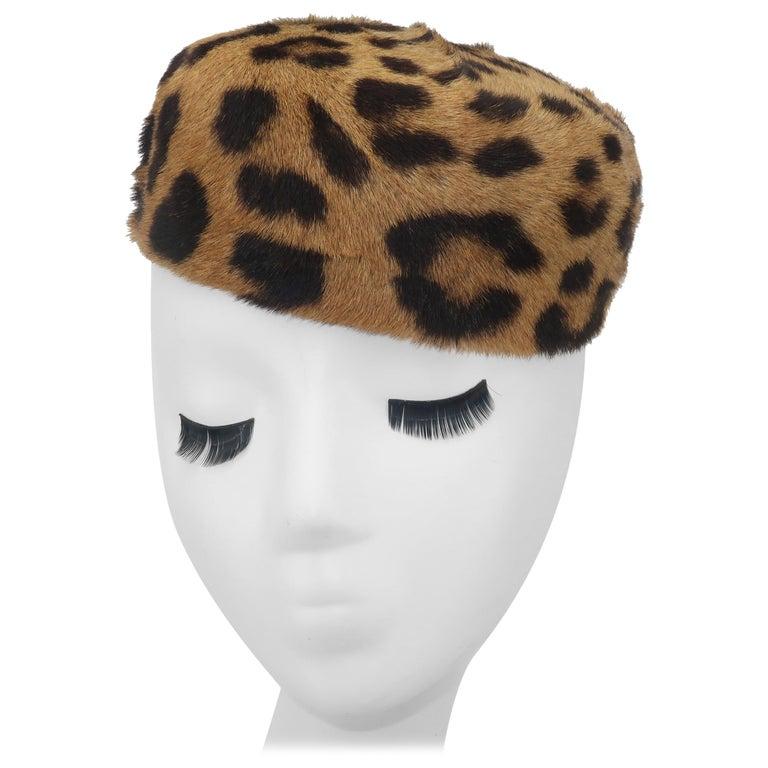 1950's Leopard Print Fur Pillbox Hat For Sale