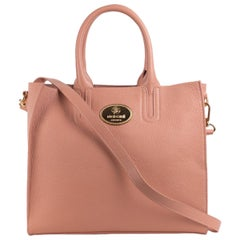 Roberto Cavalli Structured Light Pink Grainy Calf Leather Tote Bag