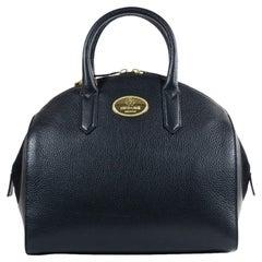 Roberto Cavalli Womens Black Grained Leather Bowler Handbag