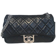 Chanel Black Leather 10inch Classic Flap with Chain Strap Shoulder Bag