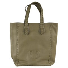 Roberto Cavalli Olive Green Grained Leather Stitched Trim Tote Bag