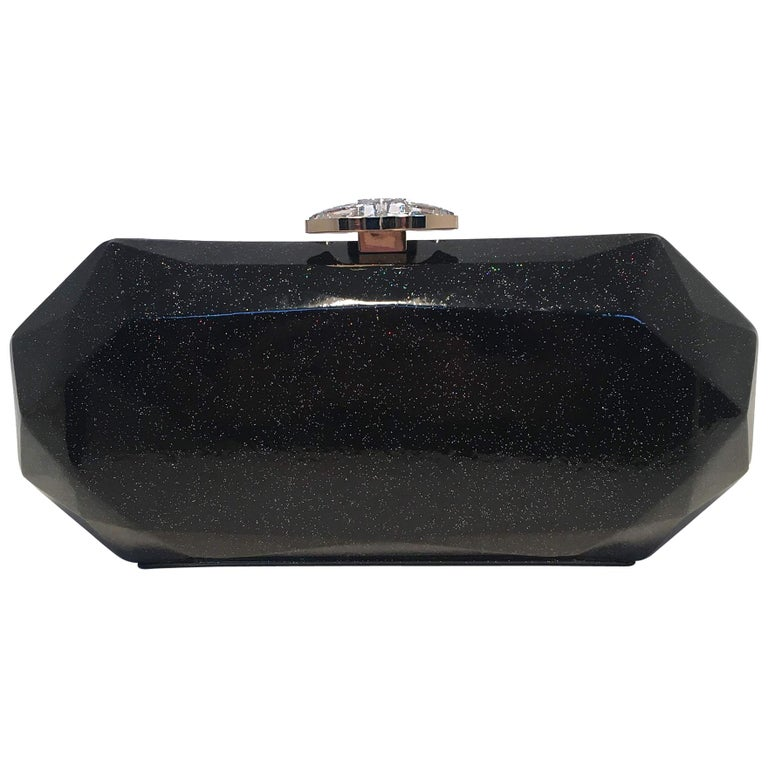 Chanel Black Sparkling Shimmery Black Leather Geometric Box Clutch