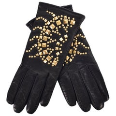 Roberto Cavalli Black Leather Wool Lined Gold Studded Gloves