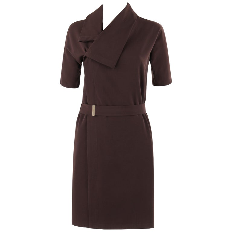 GUCCI A/W 2010 Brown Dolman Sleeve Belted Asymmetrical Shift Cocktail Dress For Sale