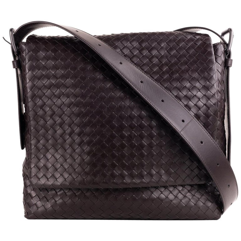 Bottega Veneta Dark Brown Prusse Intrecciato Calf Leather Messenger Bag