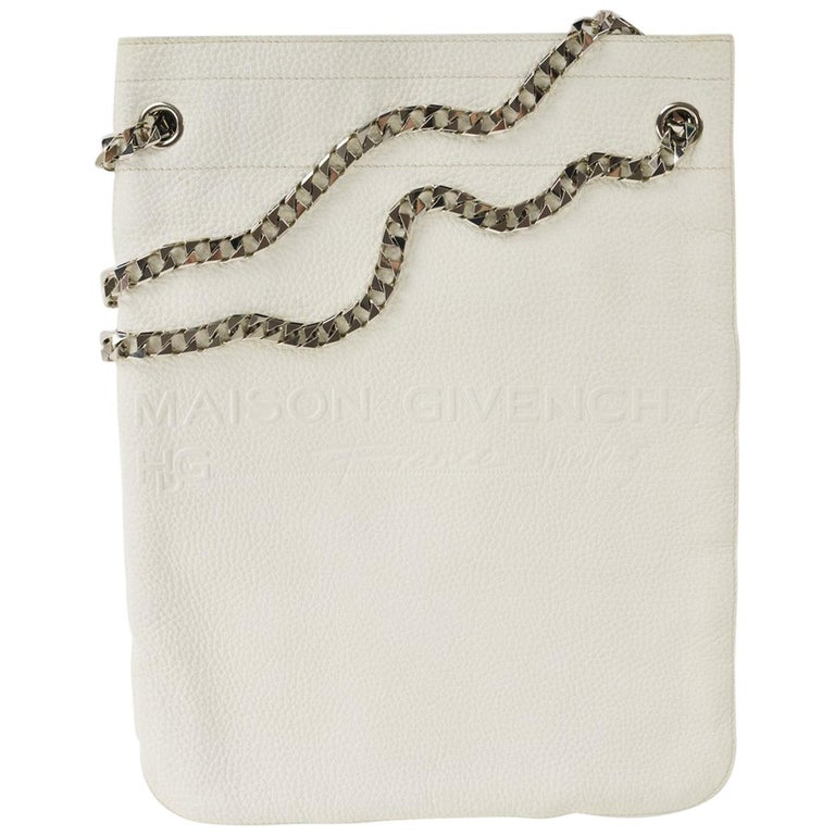 Givenchy White Leather Maison Silver Chain Strap Shoulder Bag