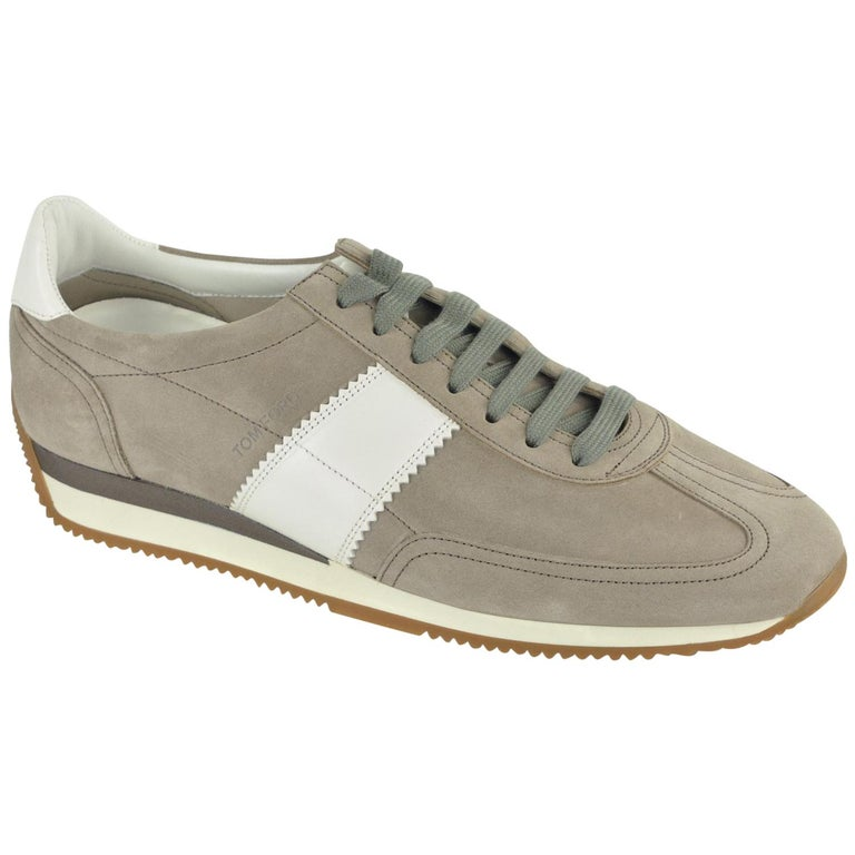 Tom Ford Men's Grey Orford Suede Trainer Sneakers For Sale