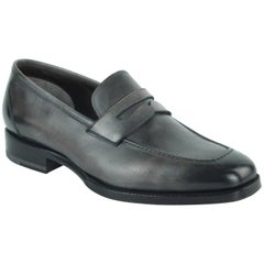 Tom Ford Men's Grey Charcoal Austin Calf Leather Loafer Shoes