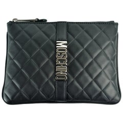 Moschino Womens Quilted Logo Clutch Black Leather Wristlet