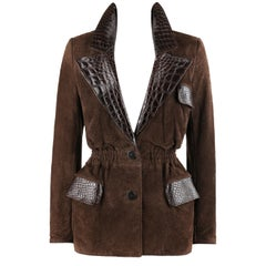 VALENTINO Couture c.1980s Brown Crocodile Suede & Leather Cinched Waist Jacket