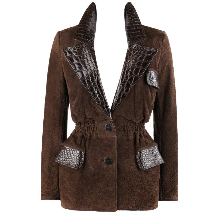 VALENTINO Couture c.1980s Brown Crocodile Suede & Leather Cinched Waist Jacket For Sale