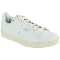 Tom Ford Men's Cream Warwick Grained Leather Low-Top Sneakers