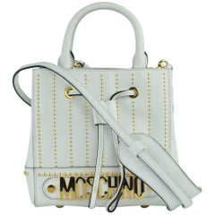 Moschino Womens White Studded Leather Drawstring Shoulder Bag