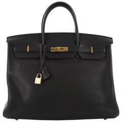 Hermes Birkin Handbag Black Clemence with Gold Hardware 40
