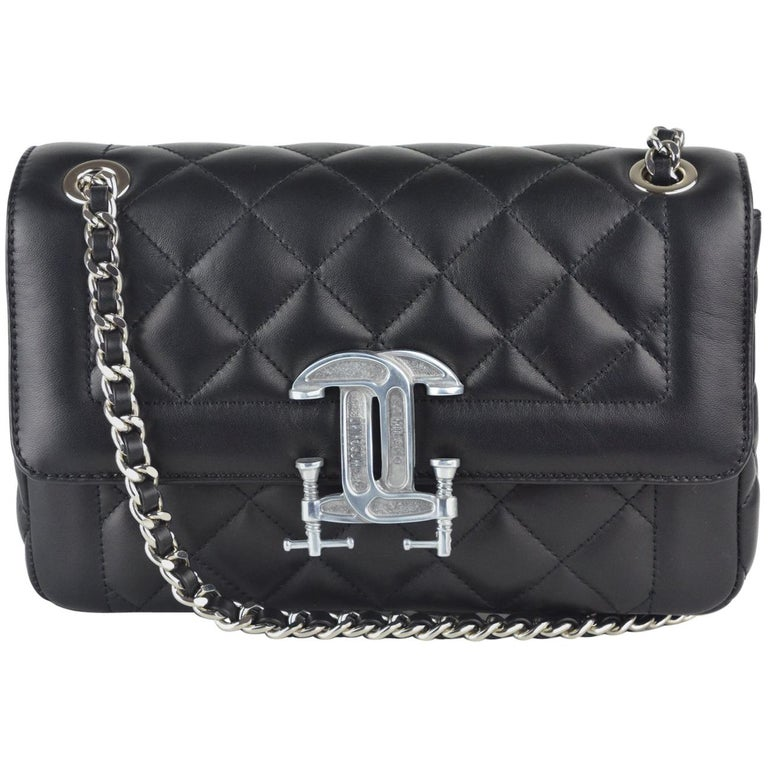 Moschino Womens Black Leather Logo Quilted Shoulder Bag For Sale at ... aa3391db49e18