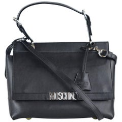 Moschino Womens Black Leather Logo Flap Expandable Handbag