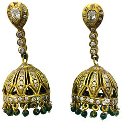 Meghna Jewels Antique Style Dome Tassel & Faux Emerald Bead Earrings
