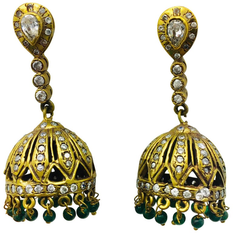 Meghna Jewels Antique Style Dome Tassel & Faux Emerald Bead Earrings For Sale