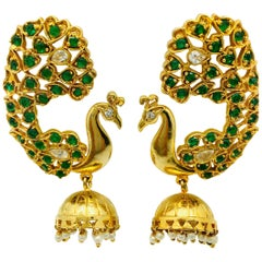 Meghna Jewels One of a Kind Peacock Faux Emerald Pearl Earrings