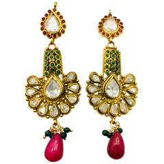 Meghna Jewels Antique Style Green & Faux Ruby Earrings