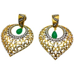 MEGHNA JEWELS Leaf Filigree Cubic Zircon Faux Emerald Earrings