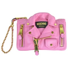 Moschino Womens Pink Leather Moto Jacket Wristlet Bag