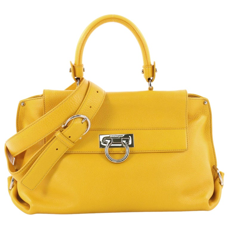 74eed9f5aed Salvatore Ferragamo Sofia Satchel Pebbled Leather Medium For Sale at ...
