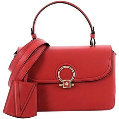 Versace Donatella Top Handle Bag Leather and Suede Small