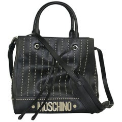 Moschino Womens Black Studded Leather Drawstring Shoulder Bag