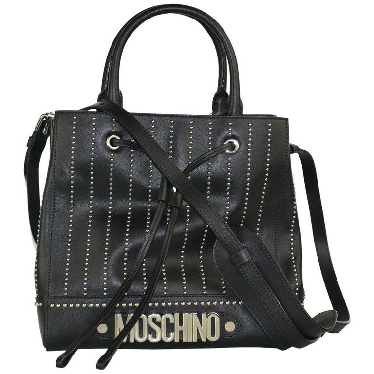 fc880c2ef7 Moschino Womens Black Studded Leather Drawstring Shoulder Bag For Sale at  1stdibs