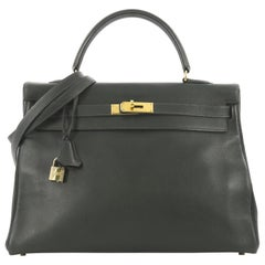 Hermes Kelly Handbag Vert Fonce Gulliver With Gold Hardware 35