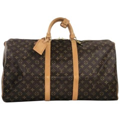 Louis Vuitton Monogram Keepall 55 Travel Duffel Handbag