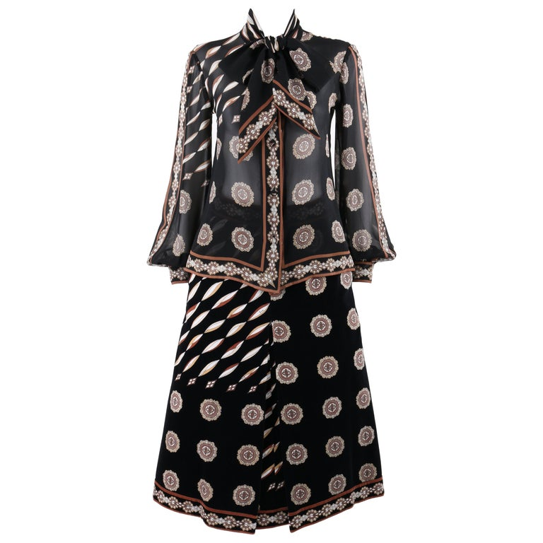 EMILIO PUCCI c.1978 2 Pc Signature Print Pussy Bow Blouse Velvet Skirt Dress Set
