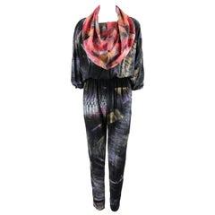 CHIA JEN JENNIFER MACKEY Hand Printed Silk Art To Wear Jumpsuit OOAK