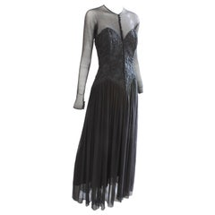 Vicky Tiel Couture Black Floral Corset Dress with Mesh Sleeves Evening Gown 38