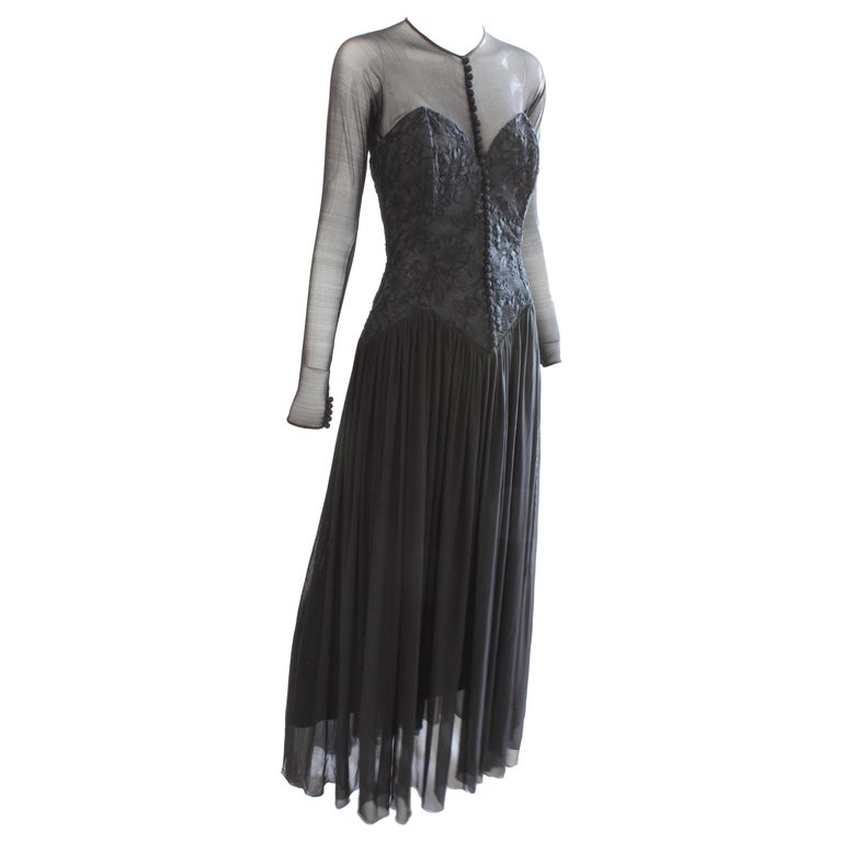 Vicky Tiel Couture Black Floral Corset Dress With Mesh Sleeves