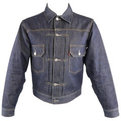 "LEVI'S VINTAGE BIG ""E"" 38 Indigo Selvedge Denim Trucker Jacket"